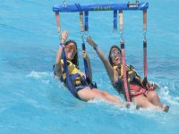 Parasailing with friends is more fun
