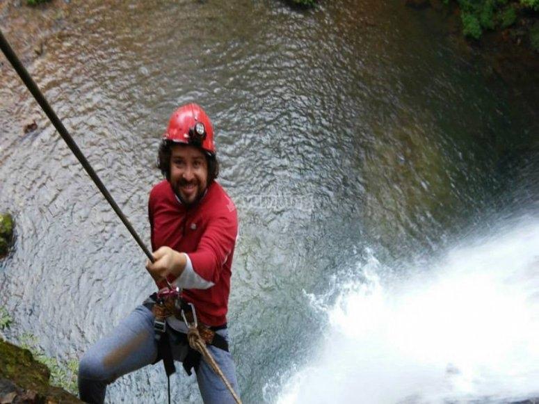 Descending in the waterfalls