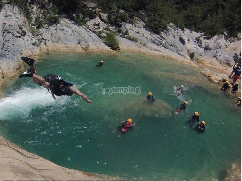 Jumping into natural pools