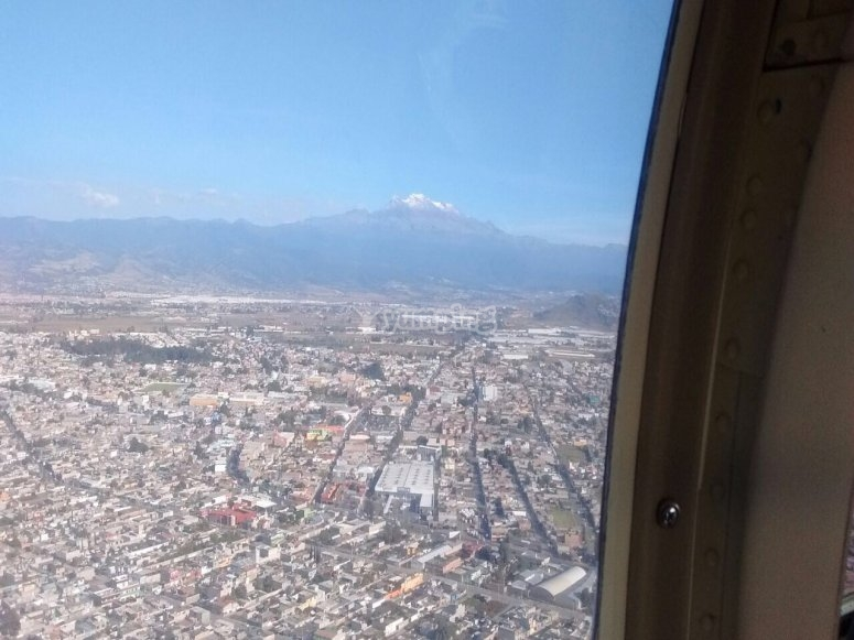 A helicopter flight over Mexico City