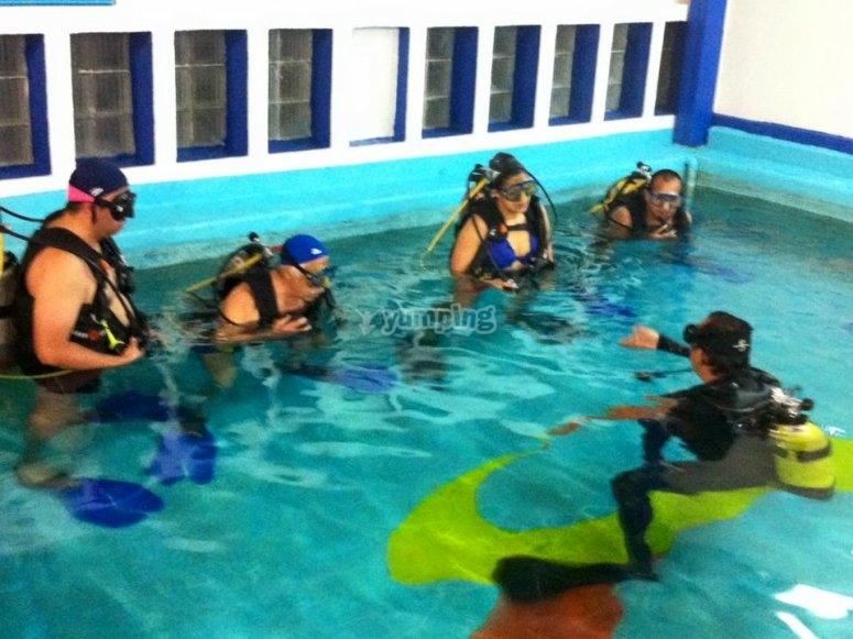 class in a pool