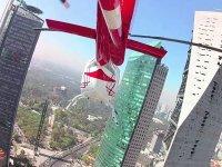 Helicopter between buildings