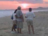Trekking at sunset