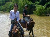 Cross the river on horseback