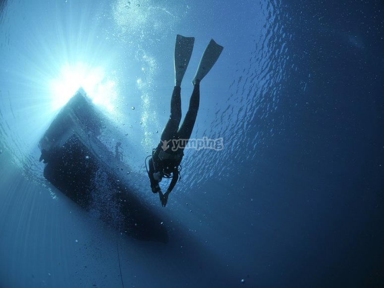 Dive with the equipment