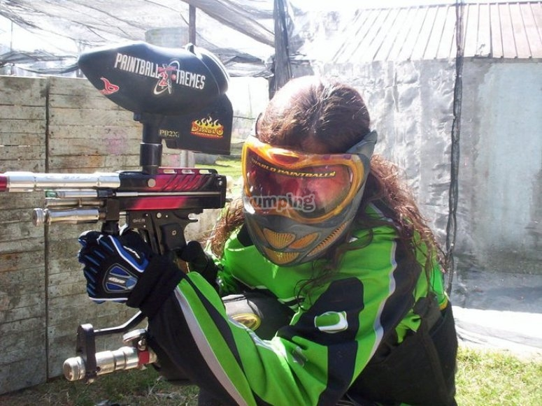 Trying out the paintball guns