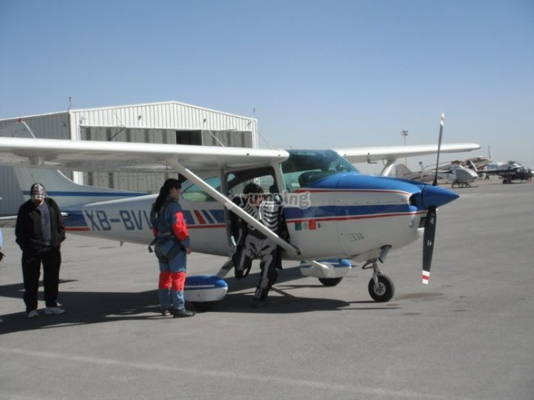 The light aircraft where we'll fly