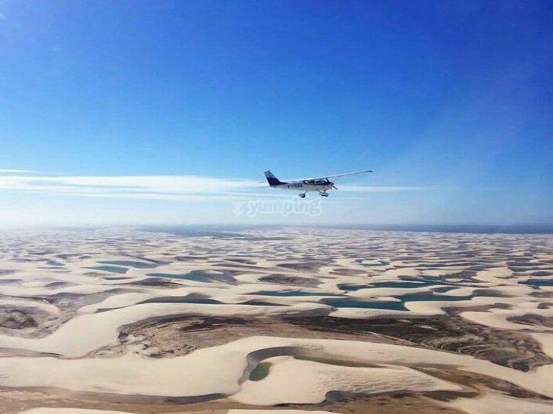 Flying over amazing landscapes