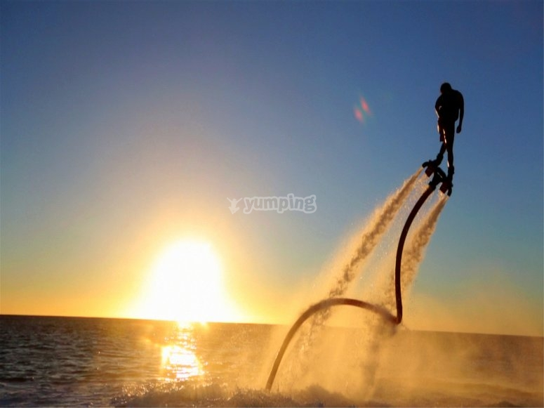 Flyboarding at sunset