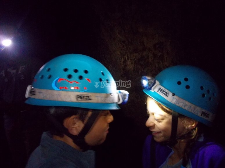A couple caving