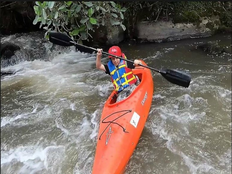 kayaking in the rapids
