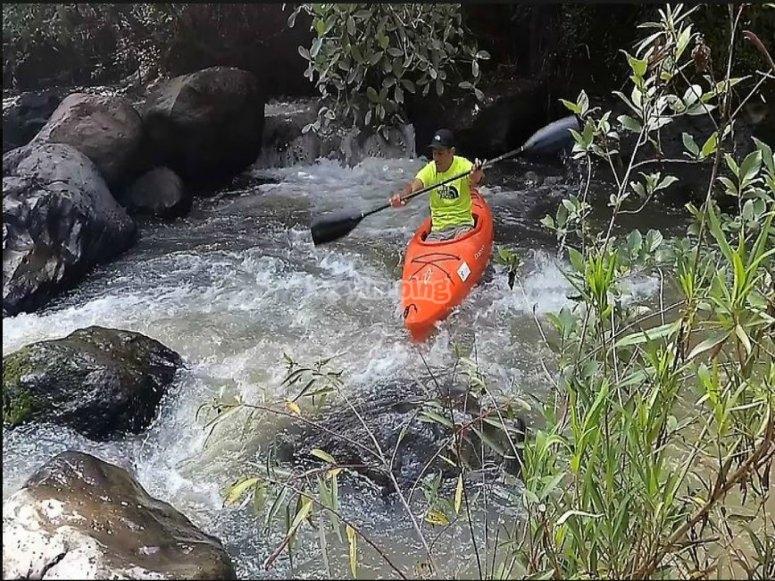 kayaking among the rocks