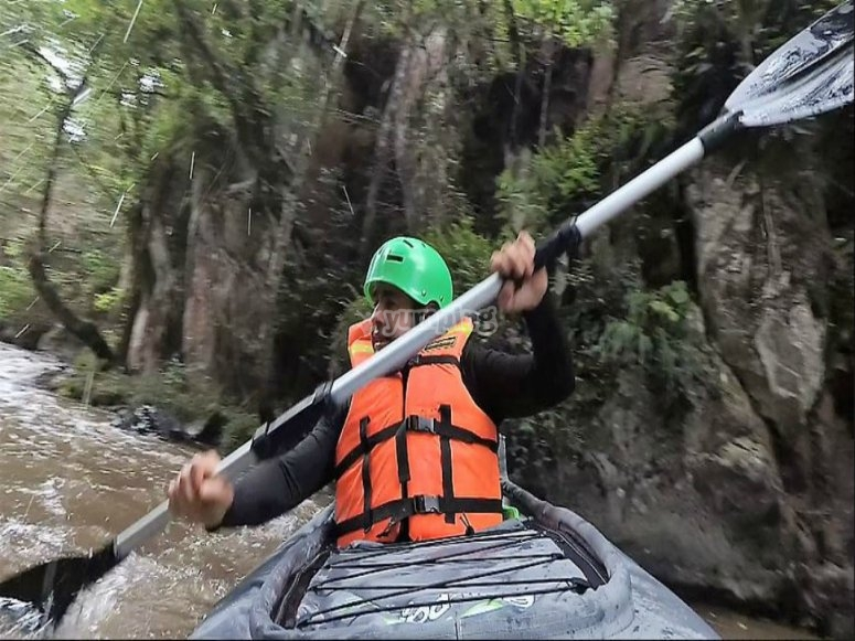 paddle in the kayak