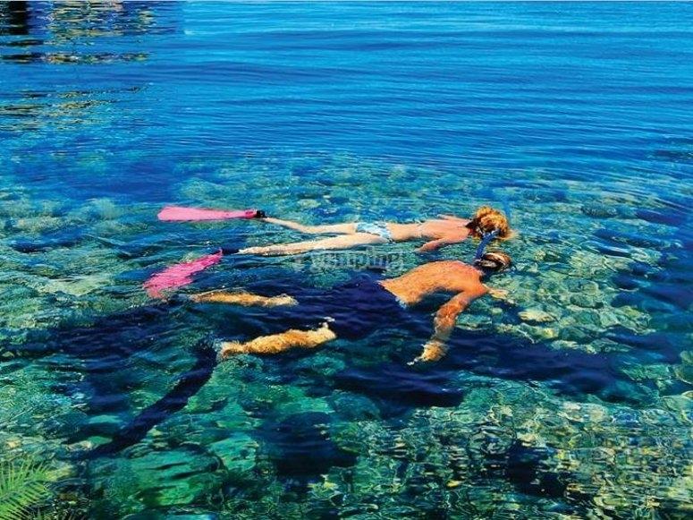 haciendo snorkel.