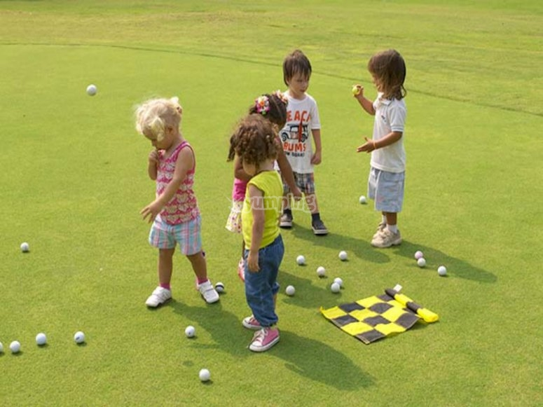 Kids at a golf court