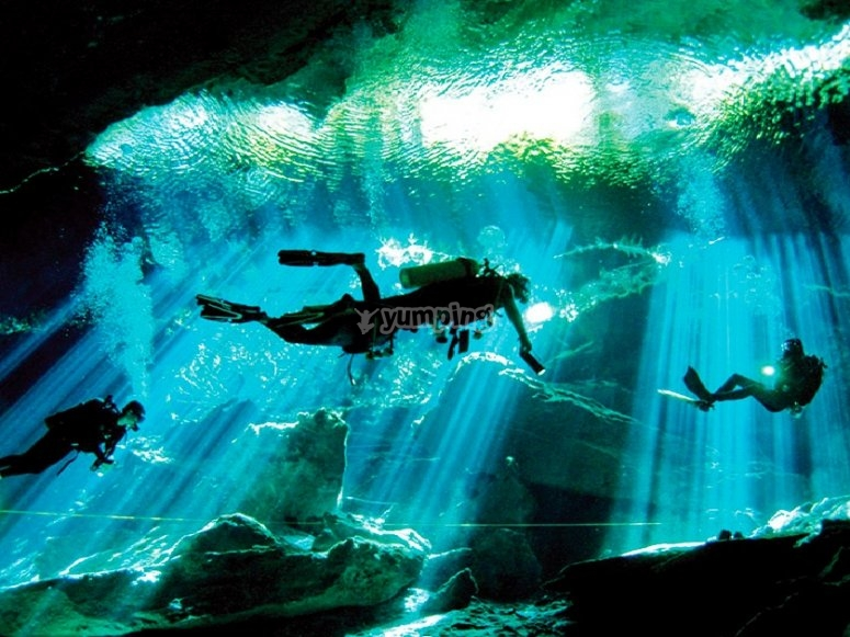 Diving in the caverns