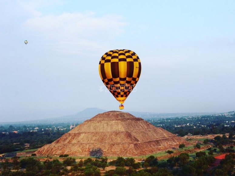 Balloon over pyramid