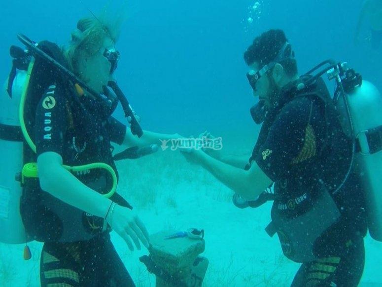 matrimonio bajo el mar azul