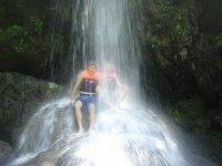 Under the waterfalls