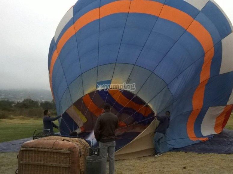 preparando el globo