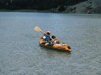 paddling in kayak