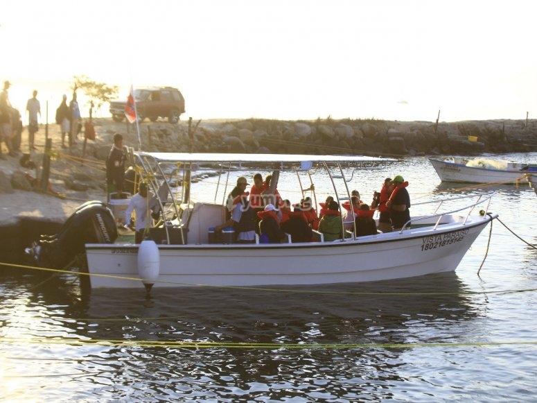 partiendo en el barco