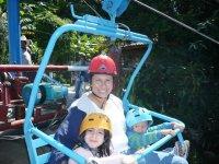 Family in zip line