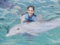 Nadando con delfines carinosos