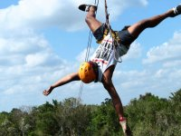 7 zip line circuit and swim in cenote children