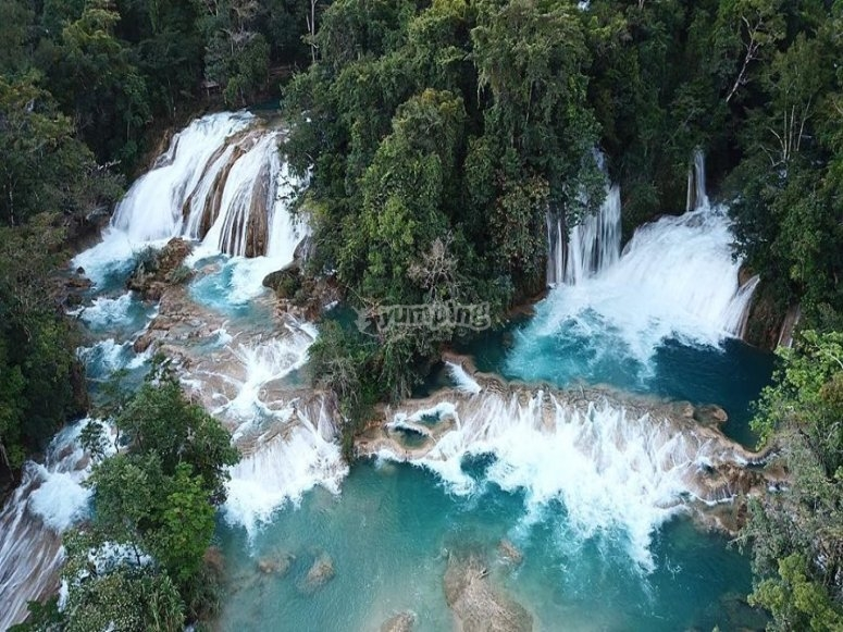 Waterfall of blue water from heights