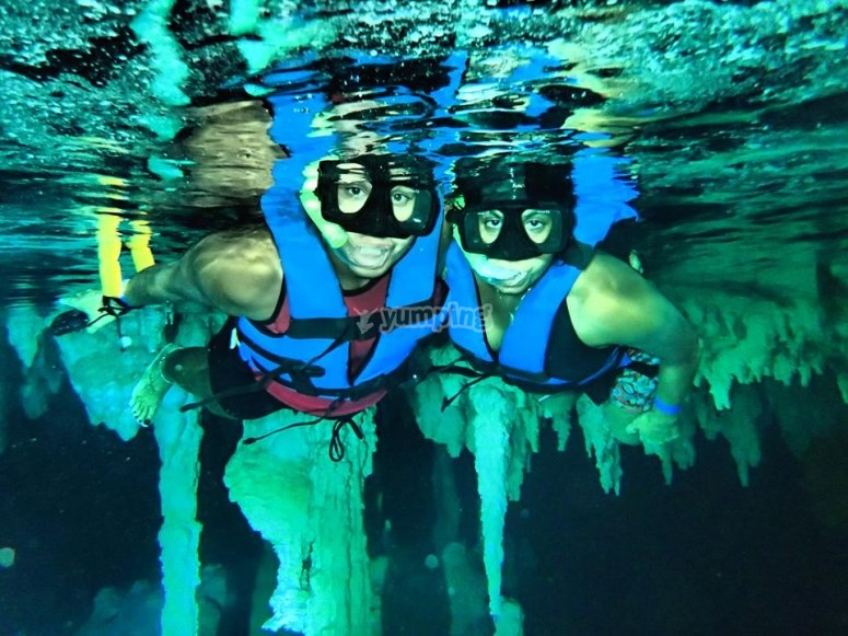 swimming in cavern