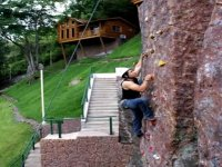 Climbing in the hotel