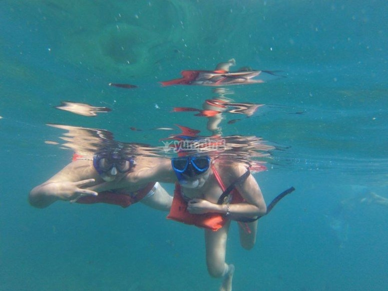 Doing snorkeling