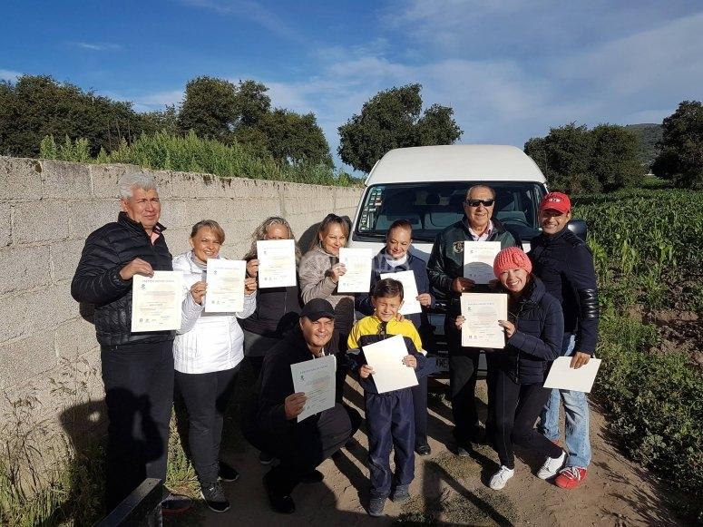 Balloon participants with diplomas