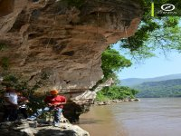 we rappel to the bank of the Grijalva river