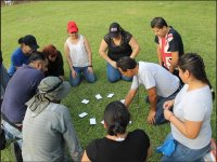Game with cards on the ground