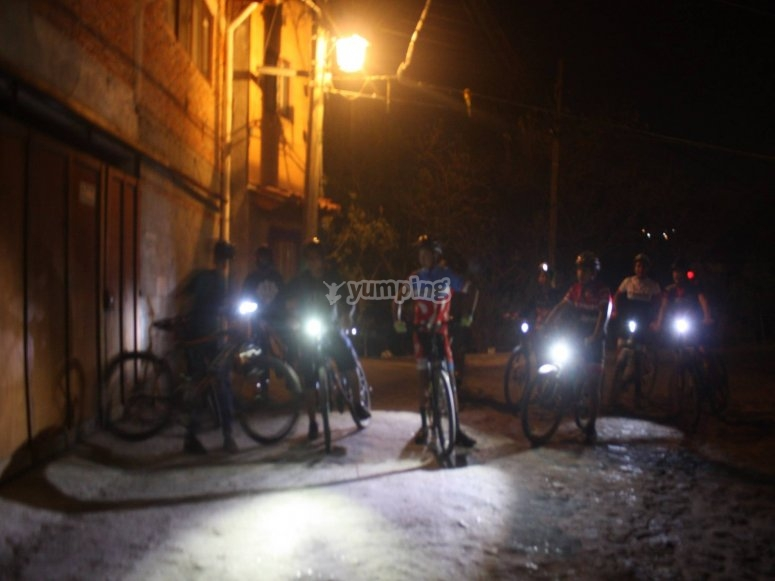Bicycles with the headlights at night
