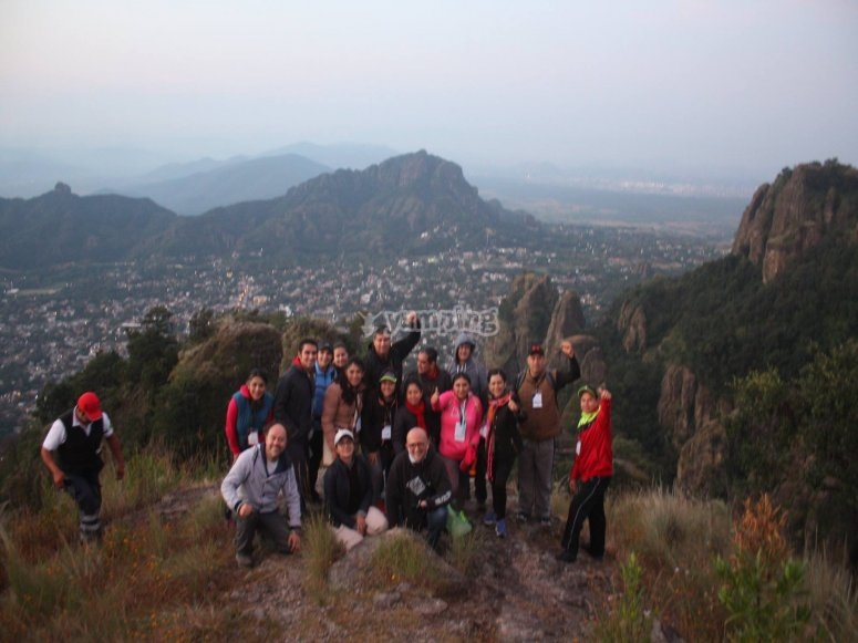 Trekking group at dusk