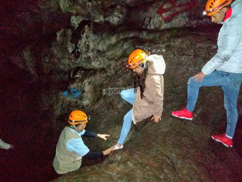 Accessing areas of the cave