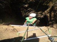 Rappelling in a mine in Mineral del Chico, Hidalgo