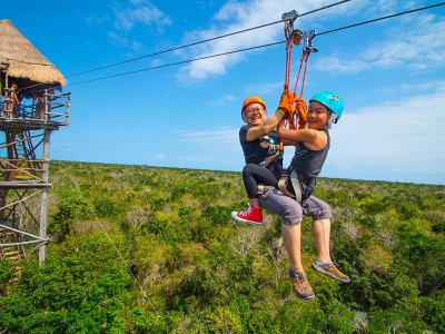 Snorkel, zip line, and rappel tour Chemuyil kids