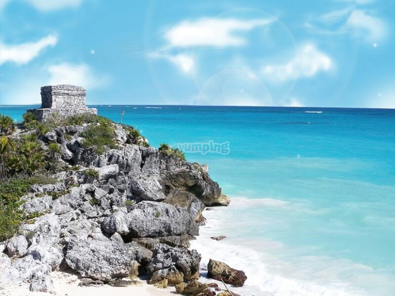 The coast of the Mayan city