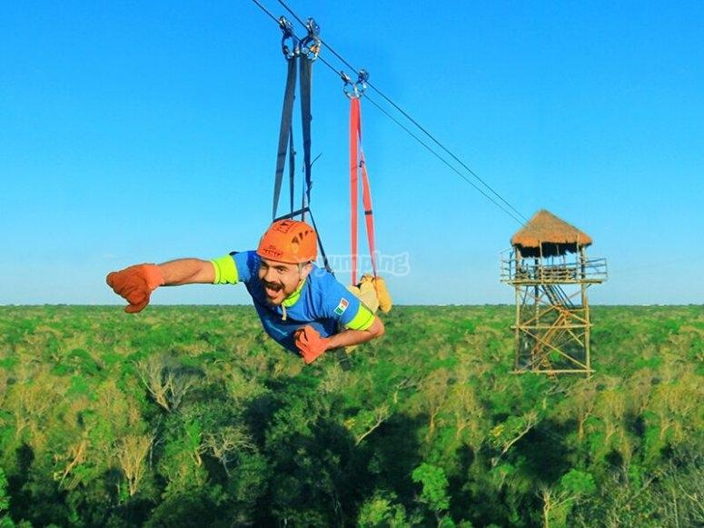 Zip-line over the jungle