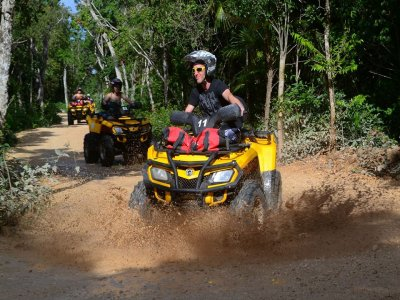 Quad bike tour snorkel and zip-line Cancún