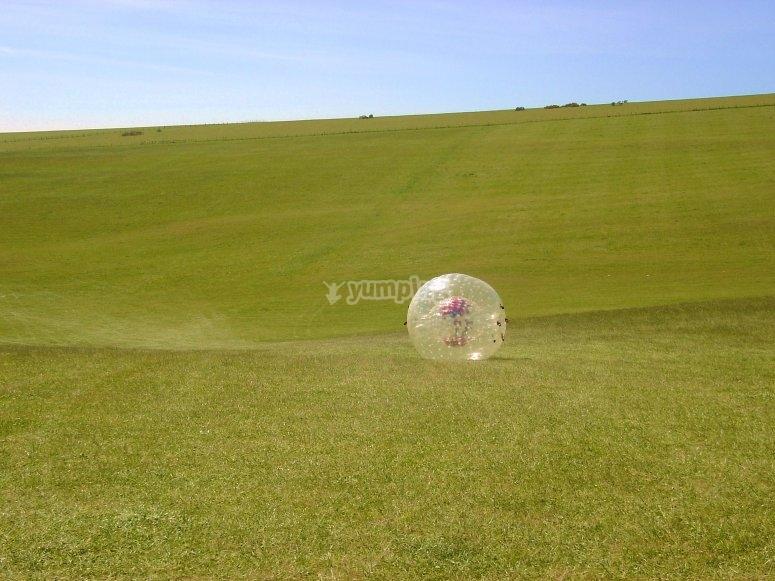 Zorbing on the grass