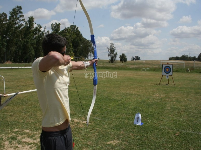 Aiming at the target with the bow