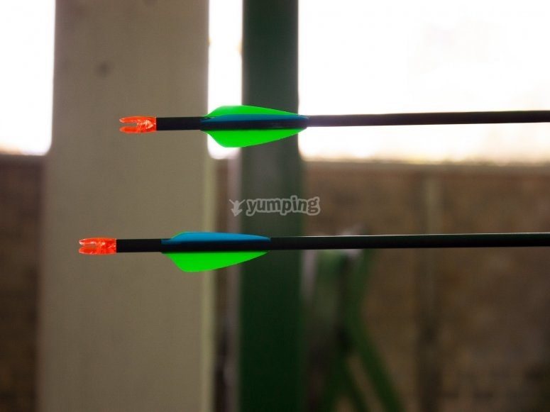 Green arrows stuck in the target