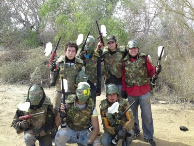 Paintball match with all the material