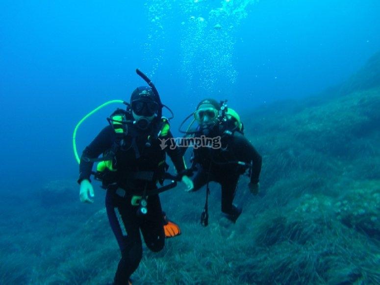Clase de buceo en mar abierto