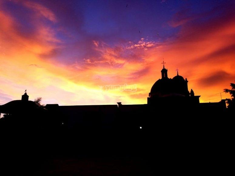 Sunset in the church of Amatitán